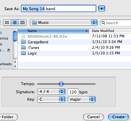 Opening a new GarageBand project