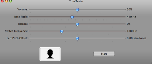 The ToneTester interface for testing left/right hearing differences