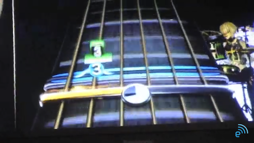 Rock Band 3 gameplay, showing 6-string challenge for new controller (Source: Engadget.com)