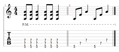 Example 2: Standard power chord, followed by a broken chord version