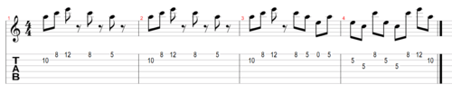Example 4: An arpeggio-based riff (click to enlarge)