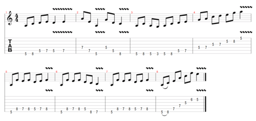 Solo mixing the natural minor and minor pentatonic scales