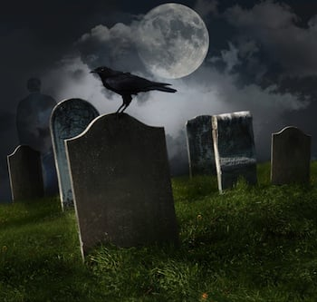 Scary Graveyard at Halloween