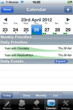 The calendar view lets you see upcoming events