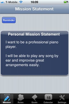 Define your personal musical mission