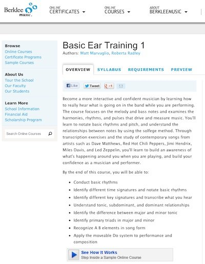 Berklee Music offers online ear training