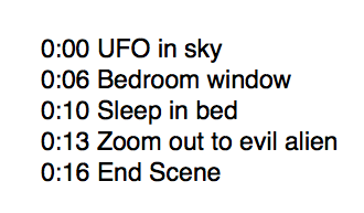 Example timecode list for key moments in the video