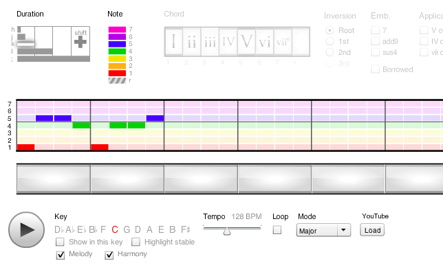 The Hooktheory song editor can be used to transcribe songs or compose new ones.