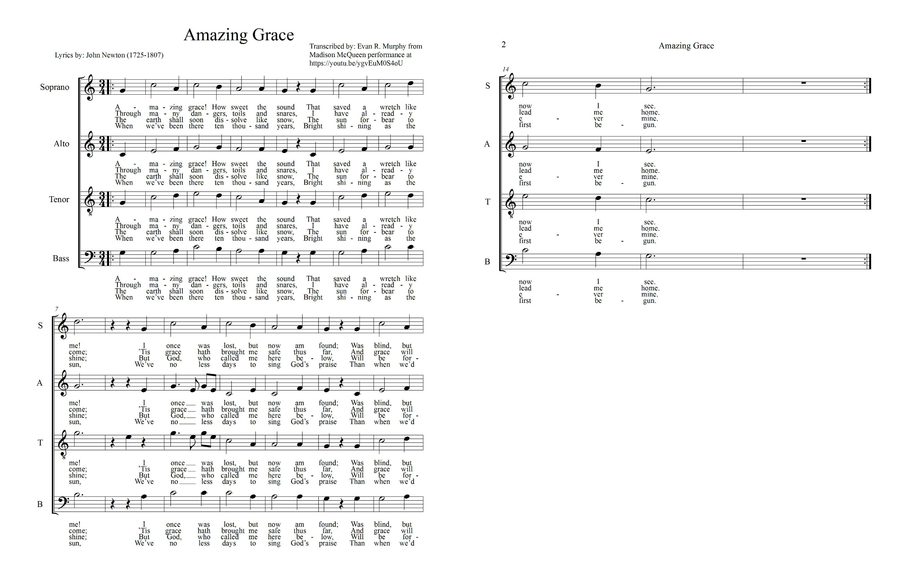 How to start sight reading music in choir musical u amazing grace score biocorpaavc Images