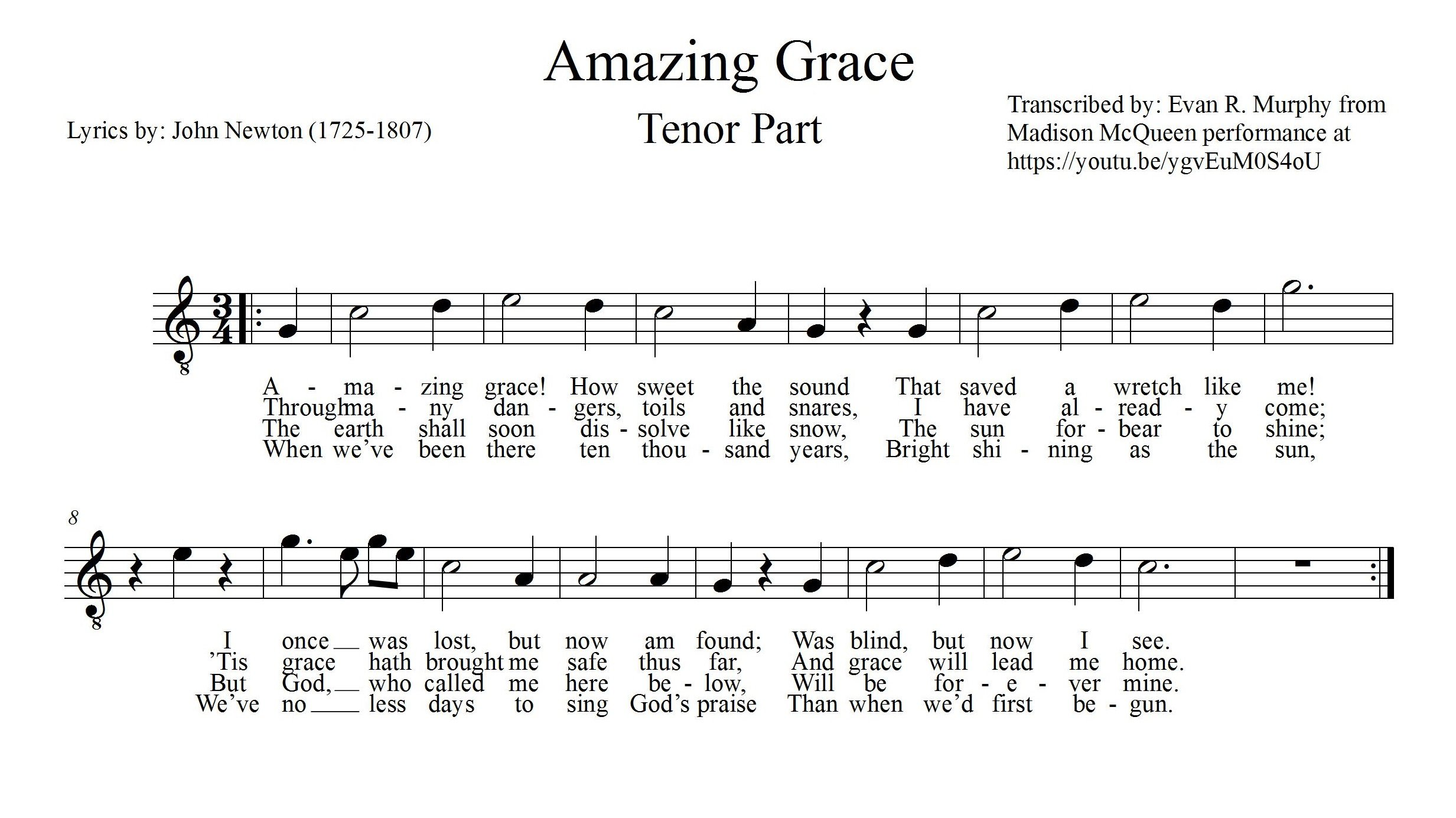 How to start sight reading music in choir musical u amazing grace tenor part cropped biocorpaavc Image collections