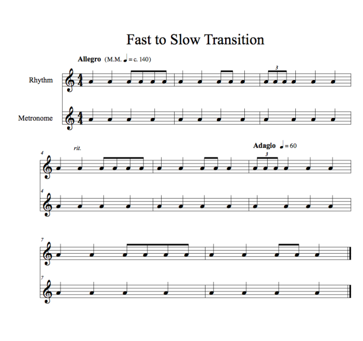Transition Practice Fast to Slow