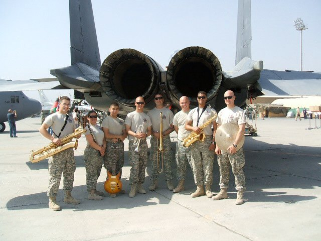 Trumpet, guitar, saxophone, trombone, guitar by fighter jet