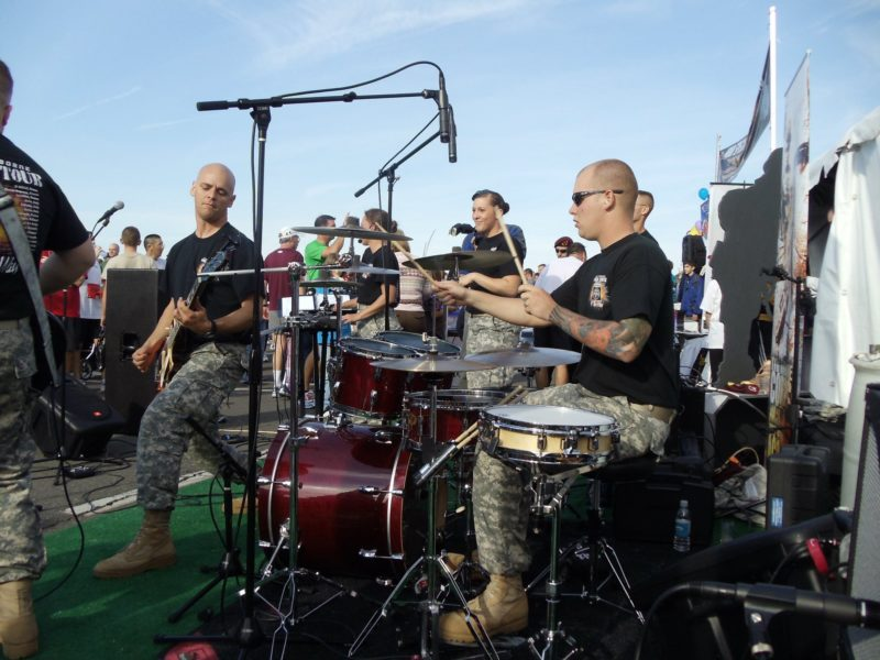 The Army 10 Miler Band, guitar drums