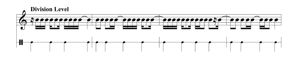 Example of division level syncopation