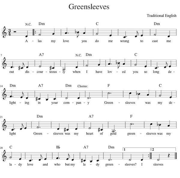 Lead Sheet - Greensleeves