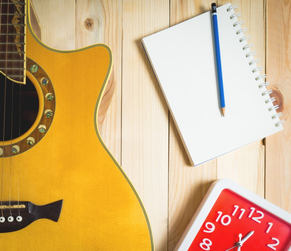 Timed songwriting challenge with guitar