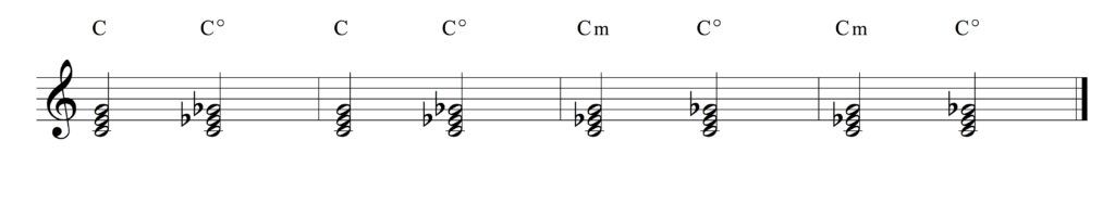 C major and C minor chords compared to C diminished