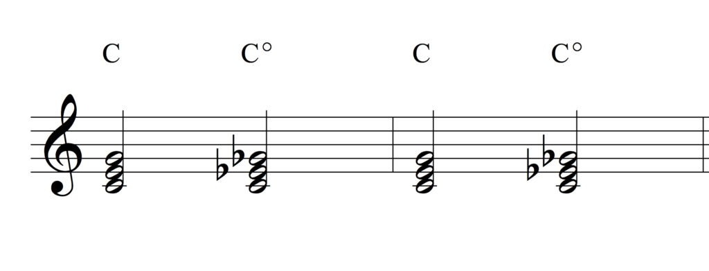 C major vs. C diminished chord