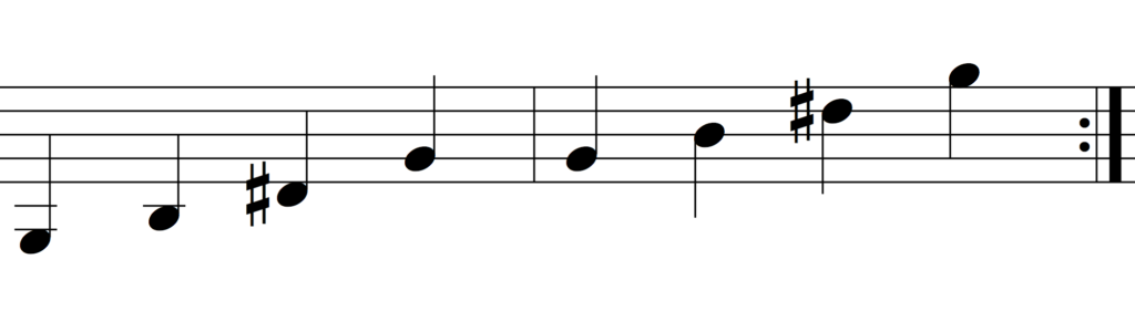 arpeggiated g augmented chord