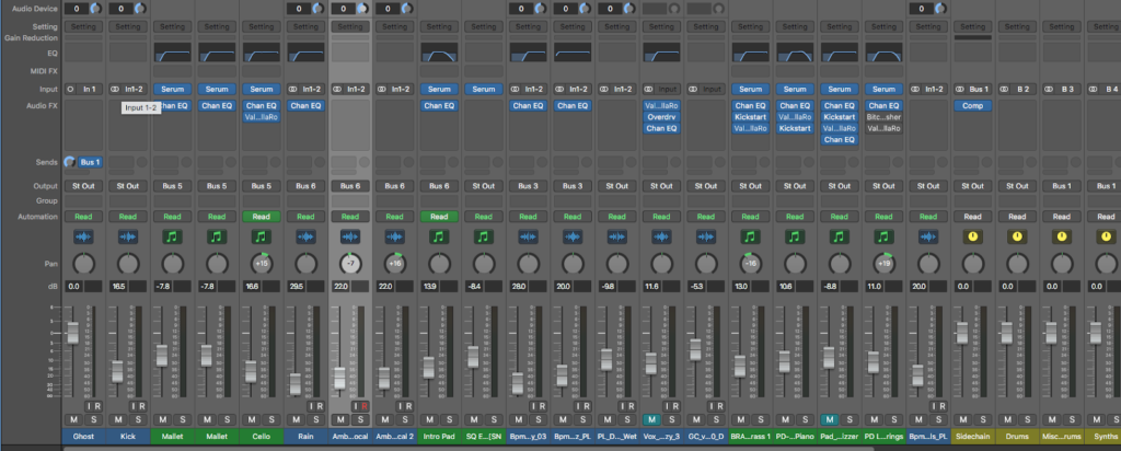 Digital mixer on a DAW