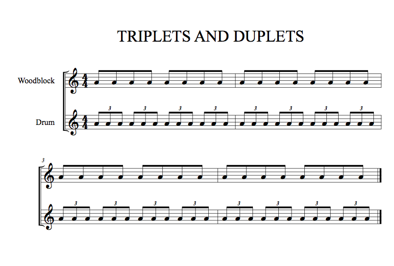Triplets and duplets polyrhythm